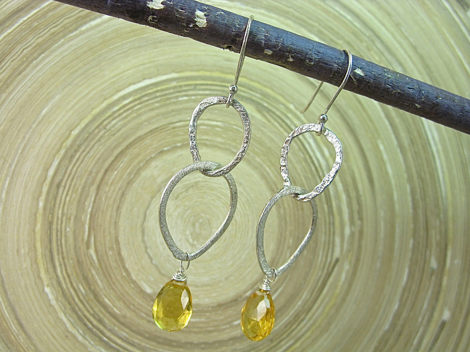 Citrine Hammered Dangle 925 Sterling Silver Earrings Earrings - Faith Owl