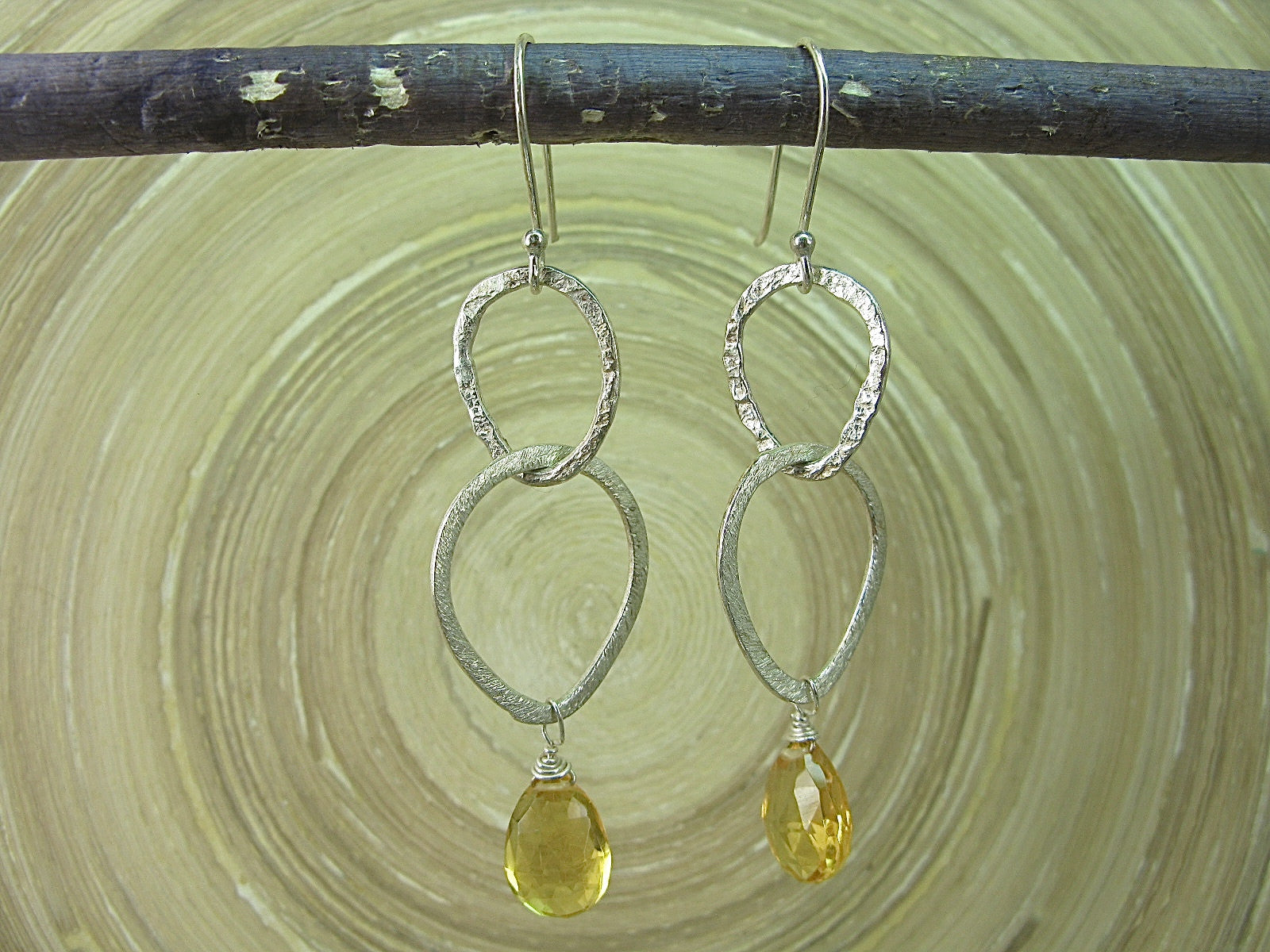 Citrine Hammered Dangle 925 Sterling Silver Earrings Earrings Faith Owl - Faith Owl