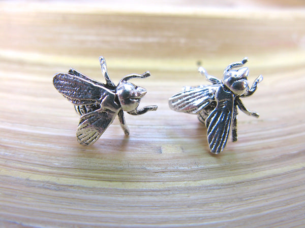 3D Fly Insect 925 Sterling Silver Stud Earrings