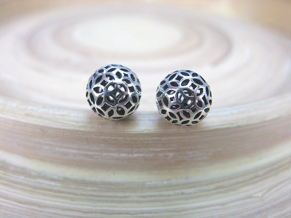 8mm Filigree Ball 925 Sterling Silver Stud Earrings