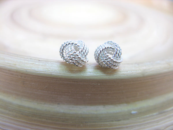 6mm Knot Ball 925 Sterling Silver Stud Earrings