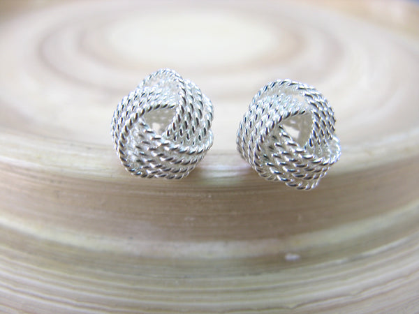 10mm Knot Ball 925 Sterling Silver Stud Earrings