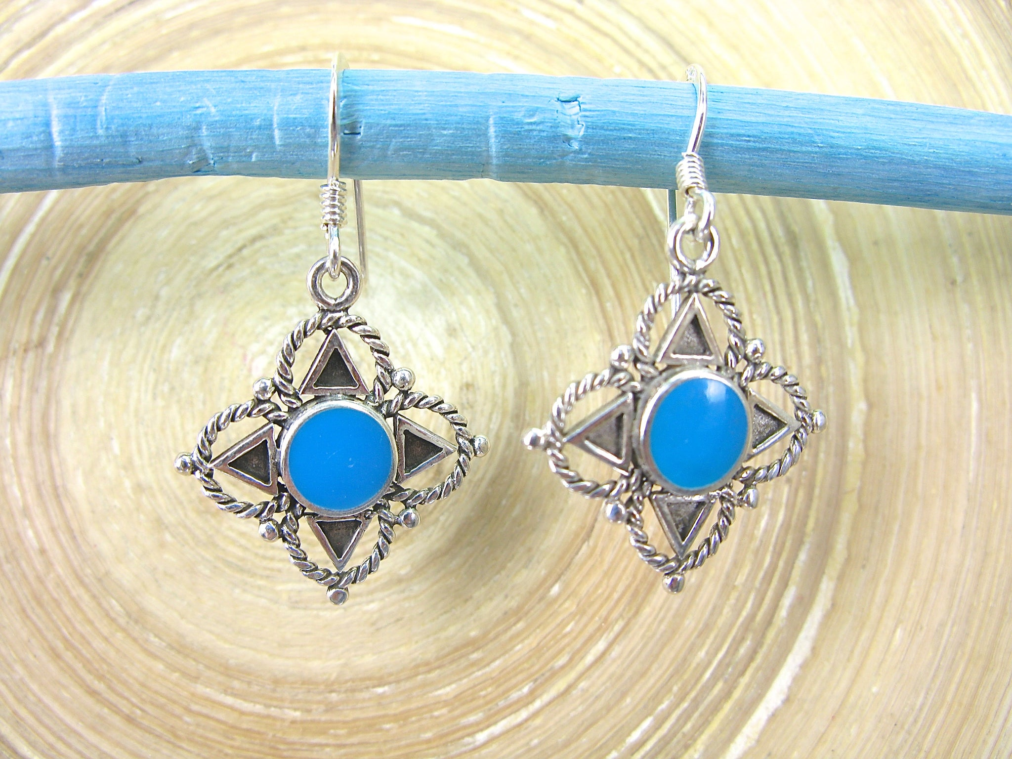 Turquoise Tribal Dangle 925 Sterling Silver Earrings