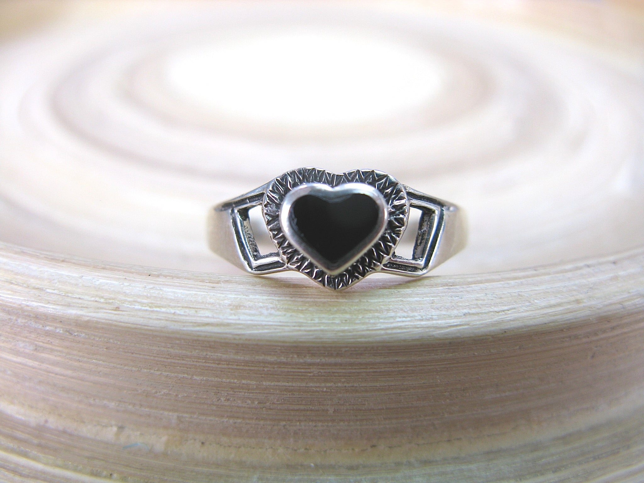Onyx Heart Oxidized Ring in 925 Sterling Silver
