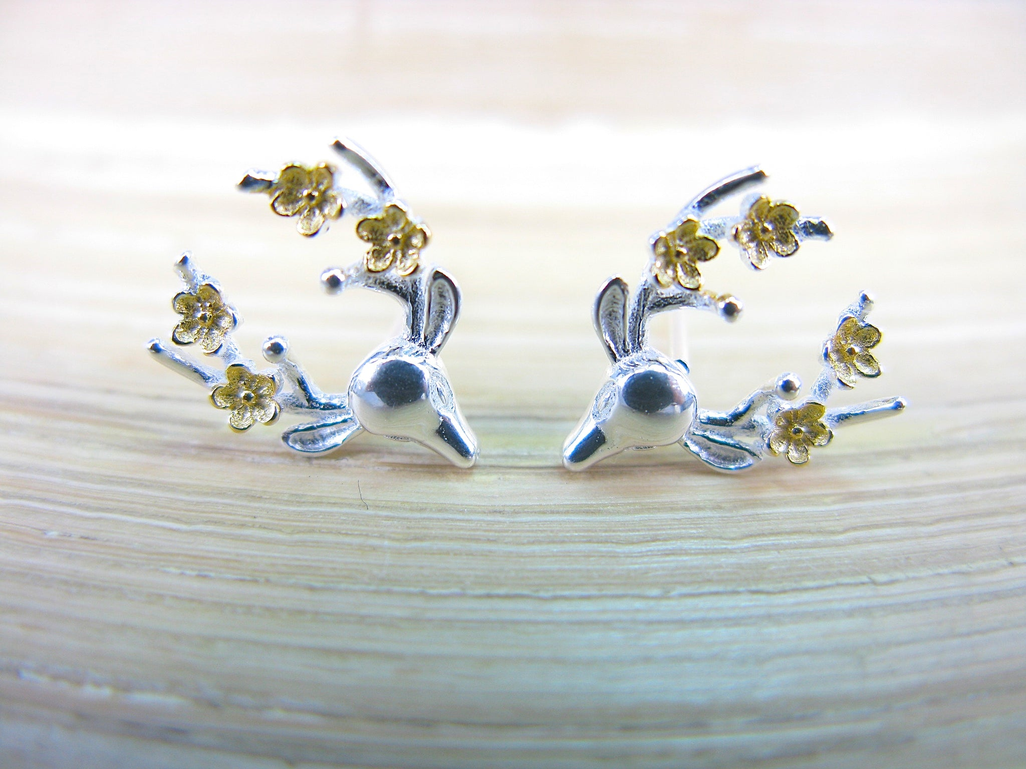 Reindeer Flower Two Tone Gold Plated 925 Sterling Silver Stud Earrings
