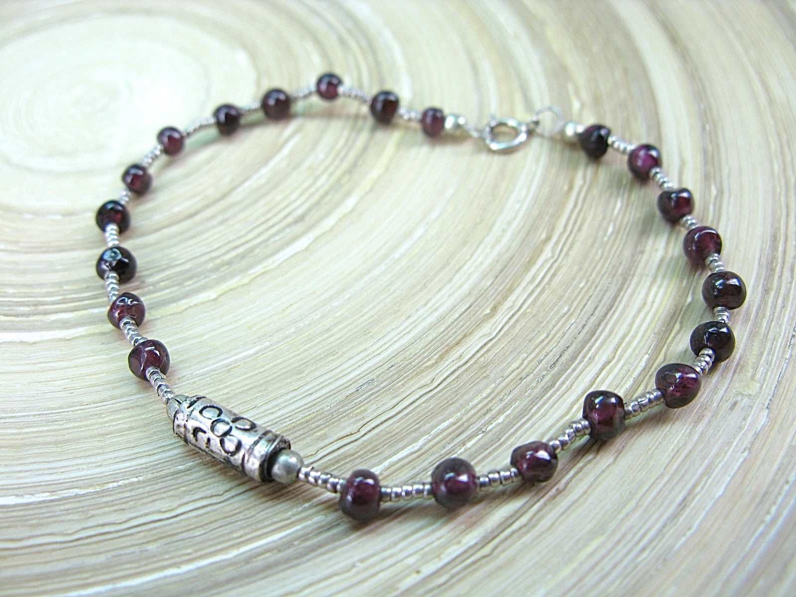 Garnet Bead Tribal Oxidized 925 Sterling Silver Bracelet Bracelet Faith Owl - Faith Owl