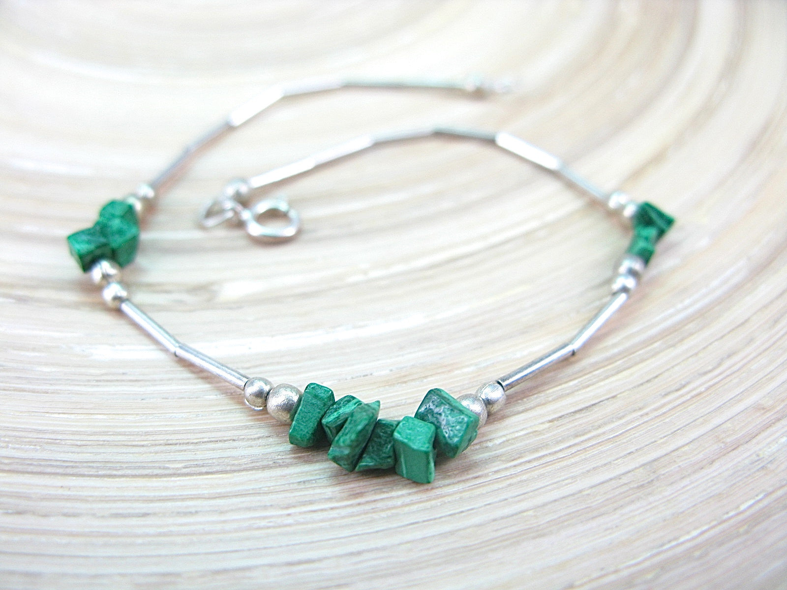 Malachite Bead Tribal Oxidized 925 Sterling Silver Bracelet Bracelet Faith Owl - Faith Owl