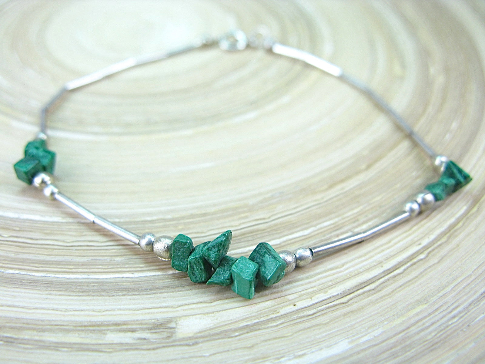Malachite Bead Tribal Oxidized 925 Sterling Silver Bracelet