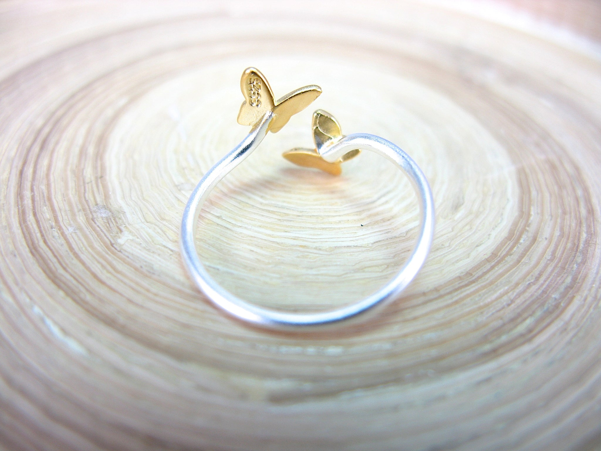 Butterfly Two Tone 925 Sterling Silver Ring