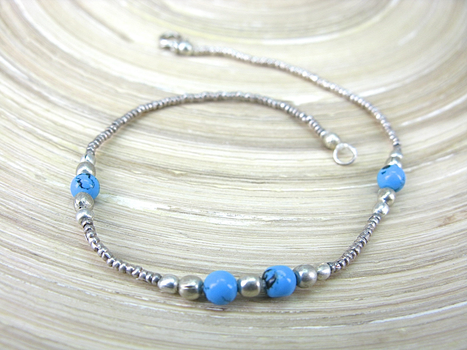 Turquoise Bead Tribal Oxidized 925 Sterling Silver Bracelet