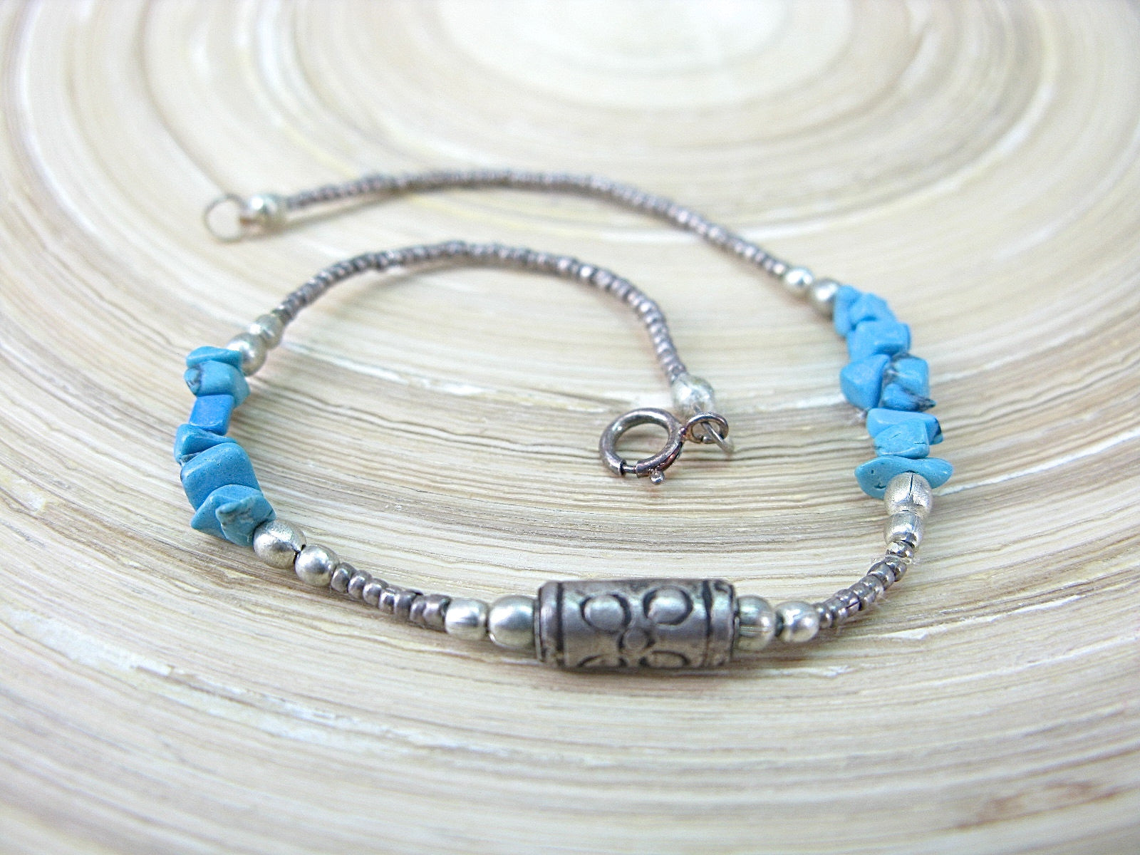 Turquoise Bead Tribal Oxidized 925 Sterling Silver Bracelet Bracelet Faith Owl - Faith Owl