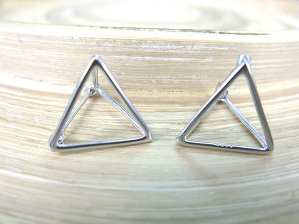 3D Geometric Triangle Hoop Earrings in 925 Sterling Silver