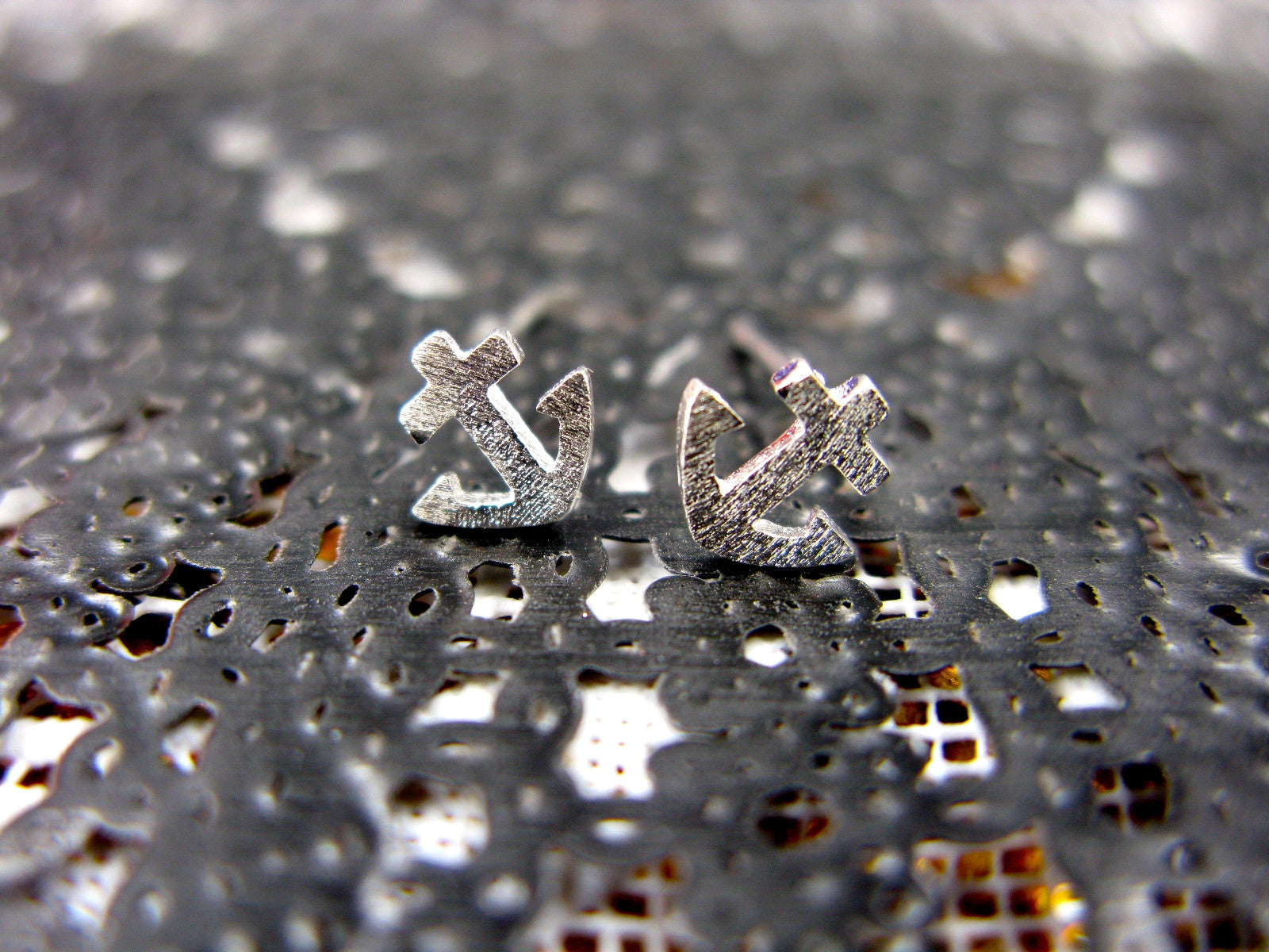 Anchor Sea Ship Sterling Silver Earrings Stud Stud - Faith Owl