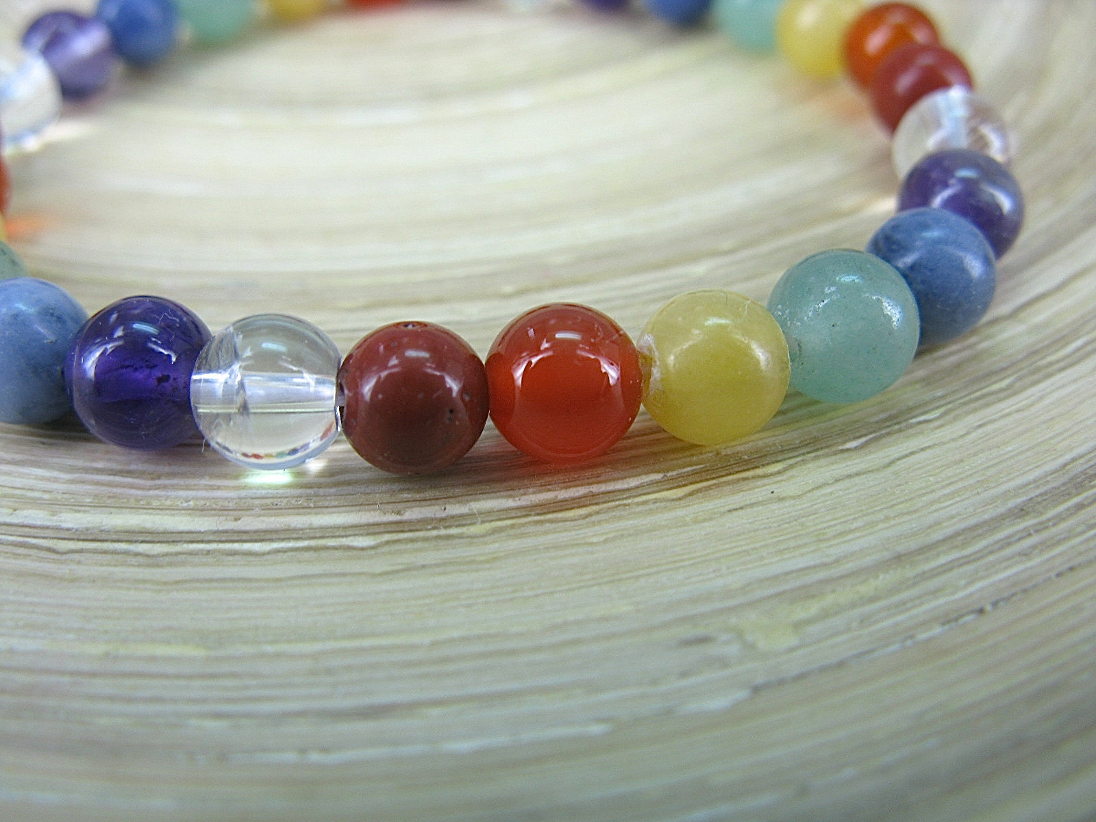 Multi Natural Colot Gemstone Elastic Bracelet