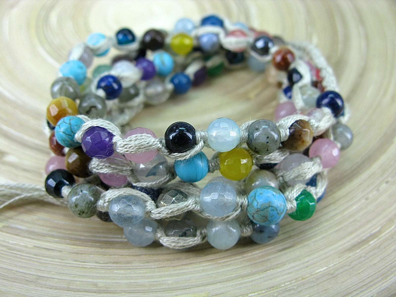 5 Wrap Handmade Color Natural Stone Hemp Bead Macrame Bracelet Bracelet - Faith Owl