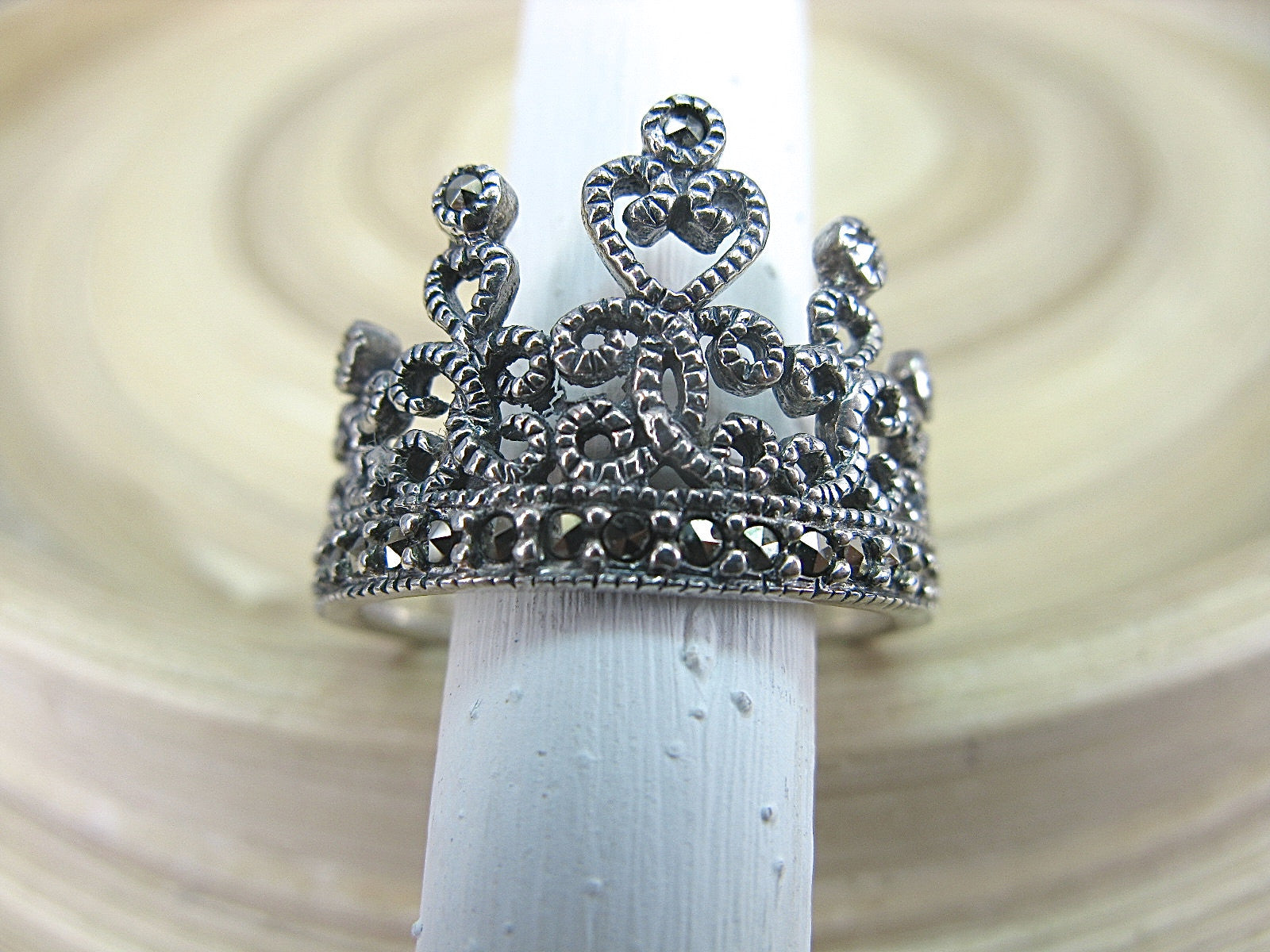 Crown Tiara Marcasite Vintage 925 Sterling Silver Ring Ring - Faith Owl