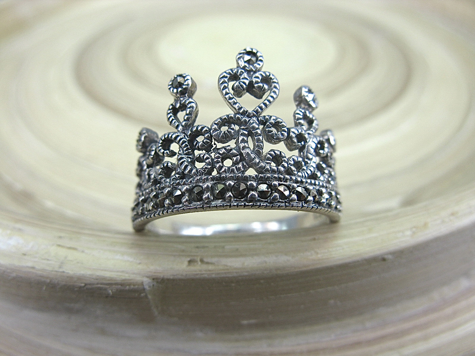 Crown Tiara Marcasite Vintage 925 Sterling Silver Ring Ring Faith Owl - Faith Owl