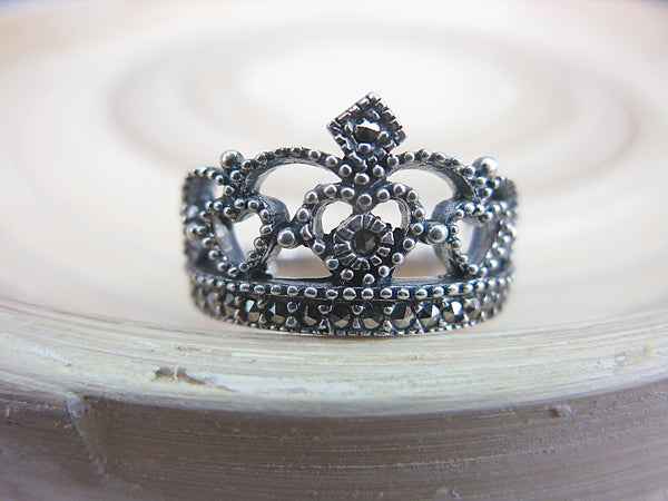Crown Marcasite Filigree Tiara 925 Sterling Silver Ring Ring - Faith Owl
