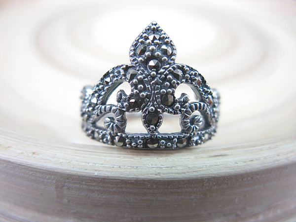 Crown Marcasite Filigree Tiara Vintage 925 Sterling Silver Ring Ring - Faith Owl