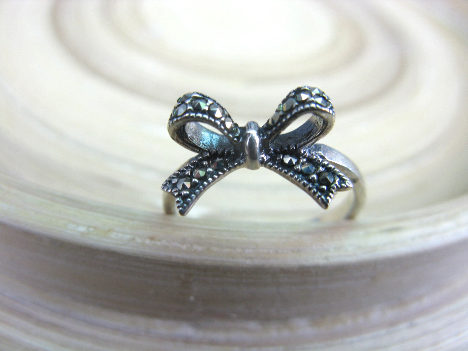 Ribbon Bow Marcasite Vintage 925 Sterling Silver Ring Ring Faith Owl - Faith Owl
