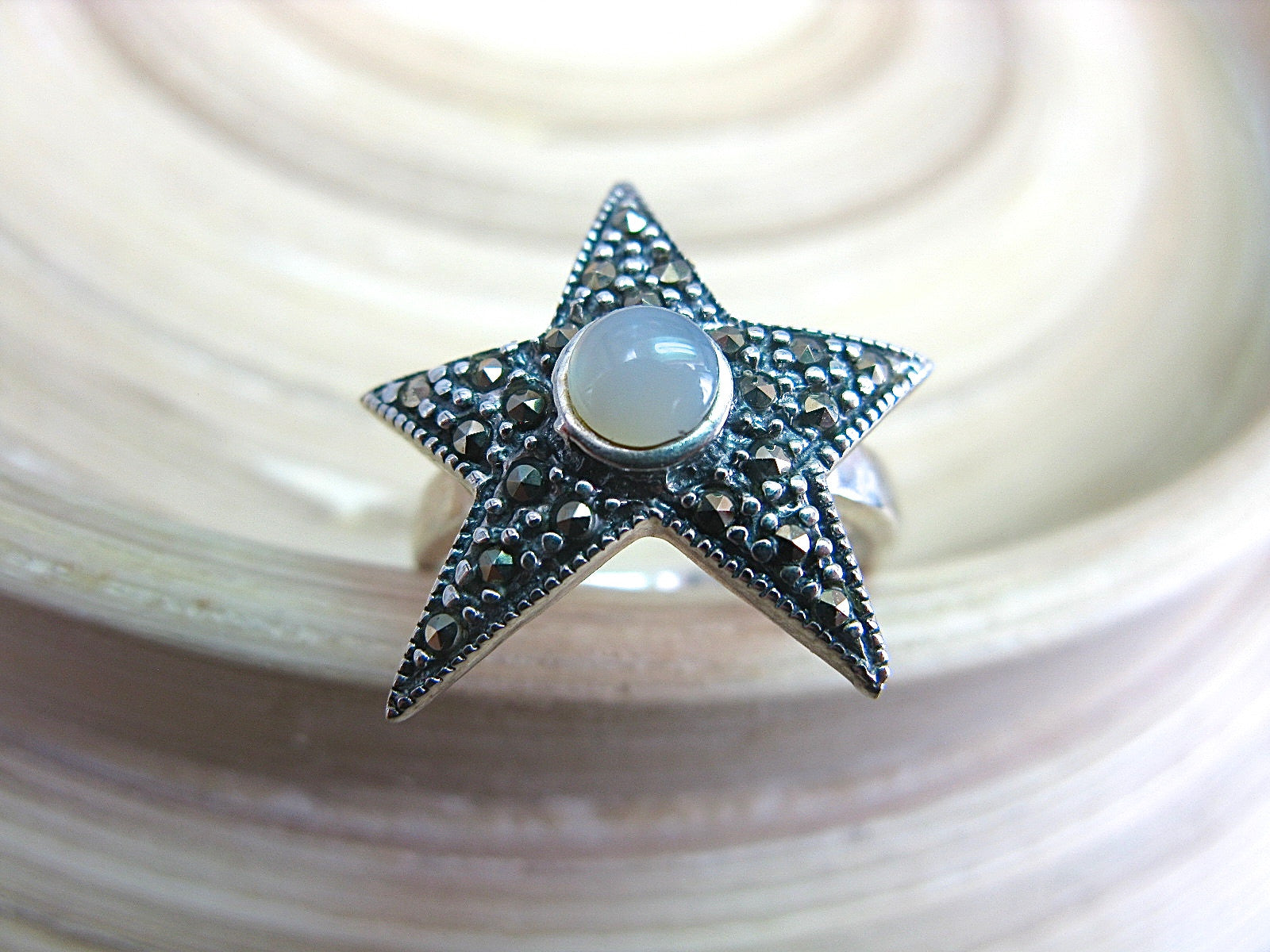 Star Marcasite Mother of Pearl Vintage 925 Sterling Silver Ring Ring Faith Owl - Faith Owl