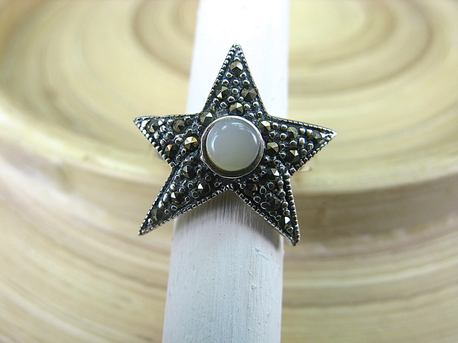 Star Marcasite Mother of Pearl 925 Sterling Silver Ring