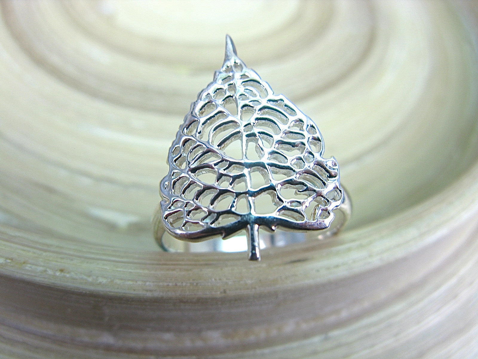 Leaf Filigree Lace 925 Sterling Silver Ring Ring Faith Owl - Faith Owl