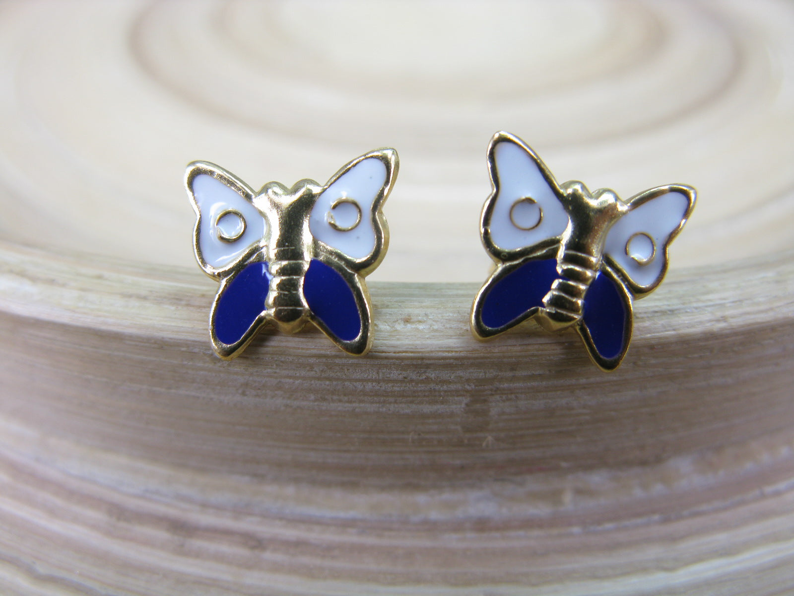 Butterfly Gold Plated 925 Sterling Silver Stud Earrings