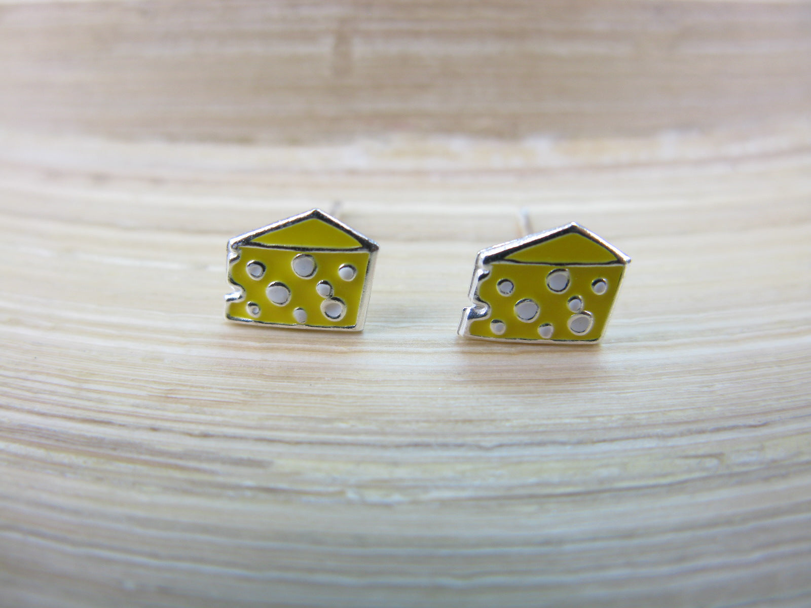 Cheese 925 Sterling Silver Stud Earrings
