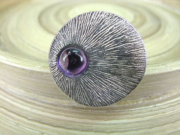 Amethyst Cabochon Round 925 Sterling Silver Ring Ring - Faith Owl