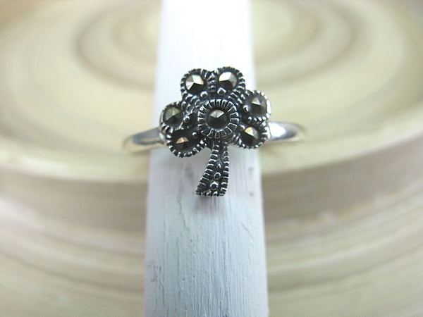 Marcasite Flower Vingtage Oxidized 925 Sterling Silver Ring Ring Faith Owl - Faith Owl