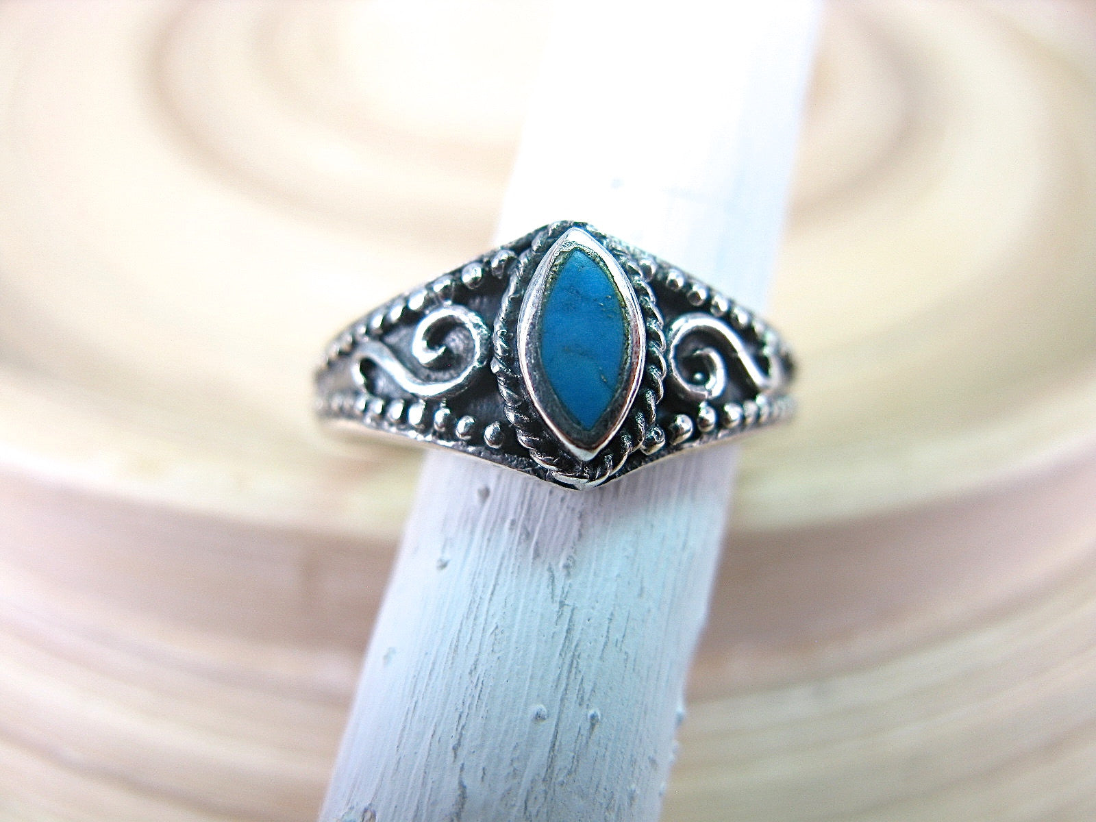 Turquoise Marquise Oxidized 925 Sterling Silver Ring Ring Faith Owl - Faith Owl
