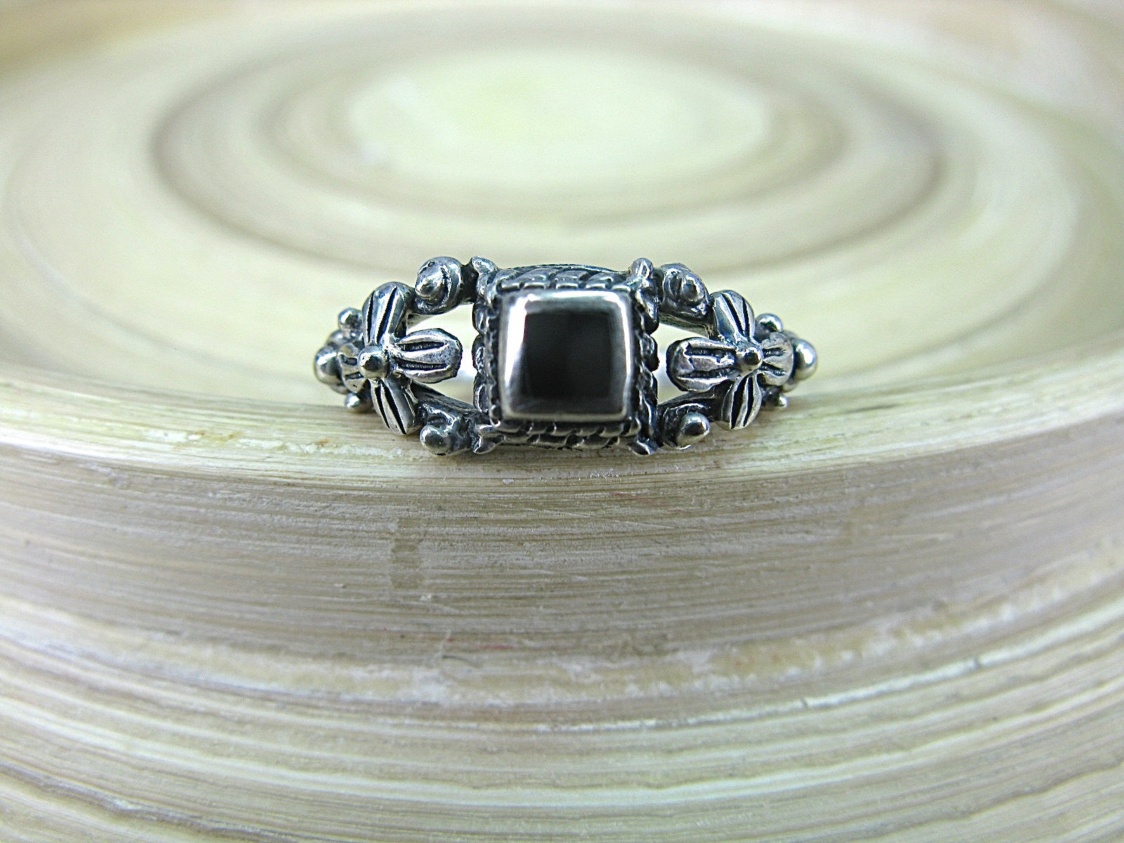 Onyx Square Oxidized 925 Sterling Silver Ring Ring Faith Owl - Faith Owl