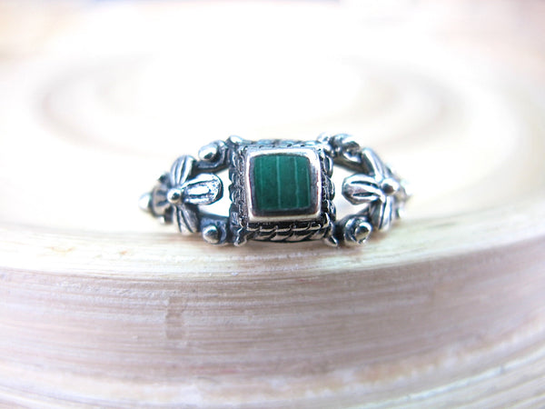 Malachite Square Oxidized 925 Sterling Silver Ring Ring Faith Owl - Faith Owl