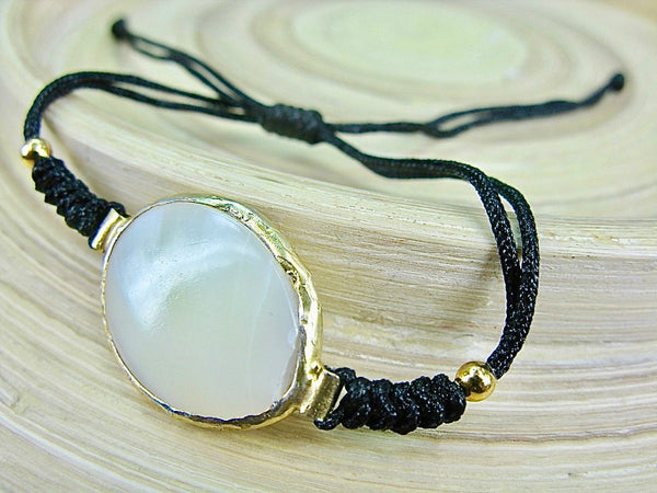 Mother of Pearl Gold Plated 925 Sterling Silver Macrame Bracelet