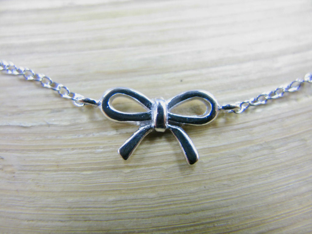 Children Bow Ribbon 925 Sterling Silver Bracelet