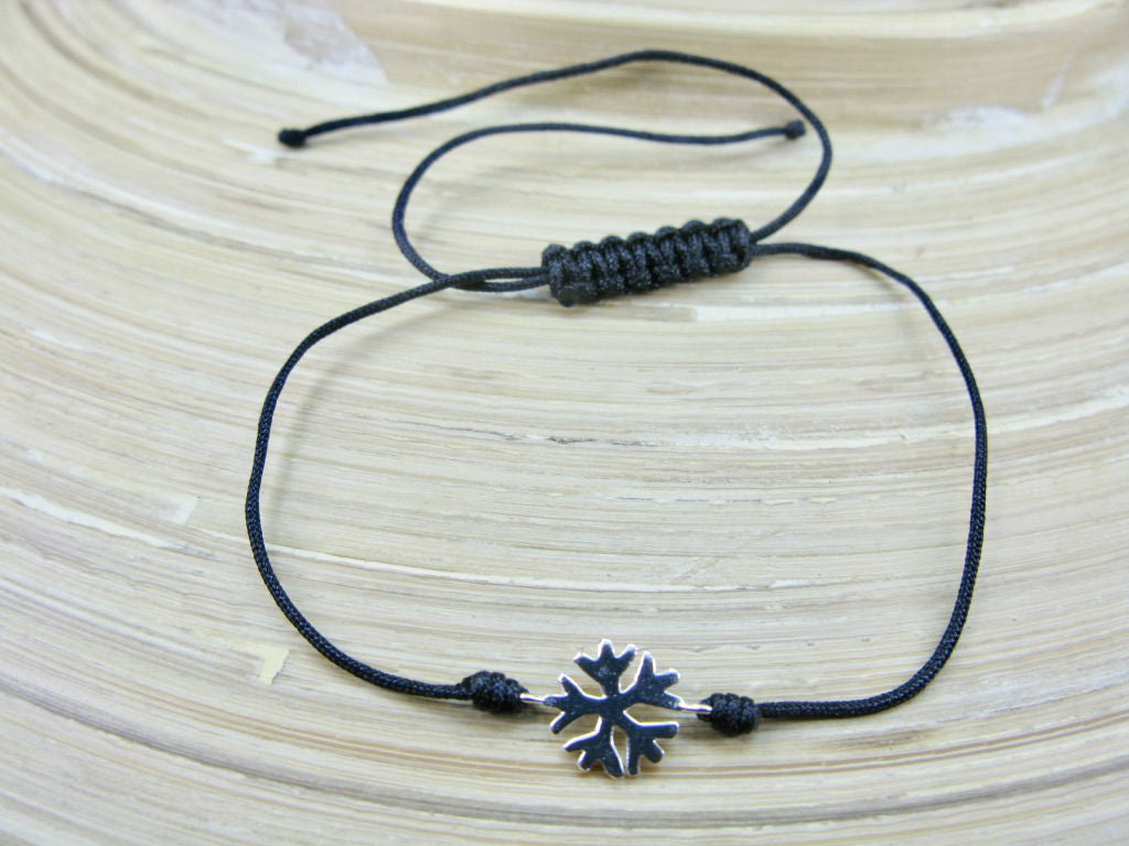 Snowflake 925 Sterling Silver Adjustable String Bracelet