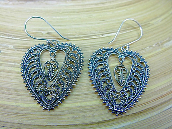 Balinese Bead Filigree Leaf Oxidized 925 Sterling Silver Earrings