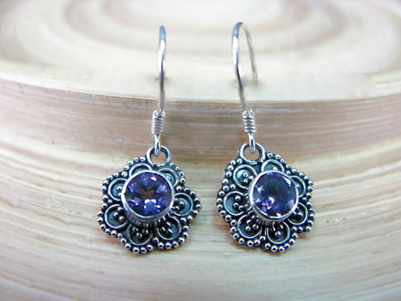Engraved Flower Amethyst 925 Sterling Silver Earrings