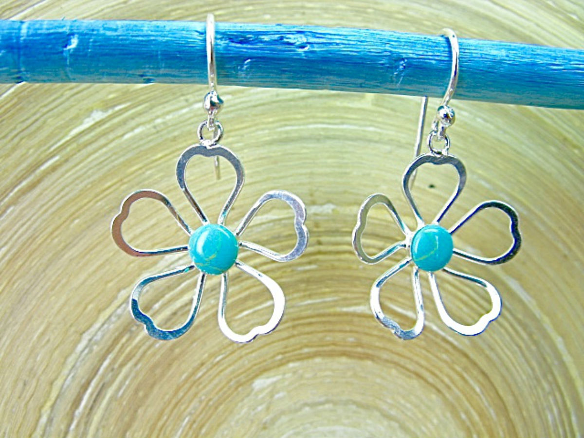 Turquoise Filigree Lace Flower 925 Sterling Silver Earrings