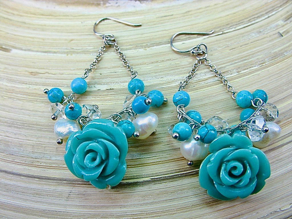 Synthetic Blue Coral Rose Flower Chandelier 925 Sterling Silver Earrings
