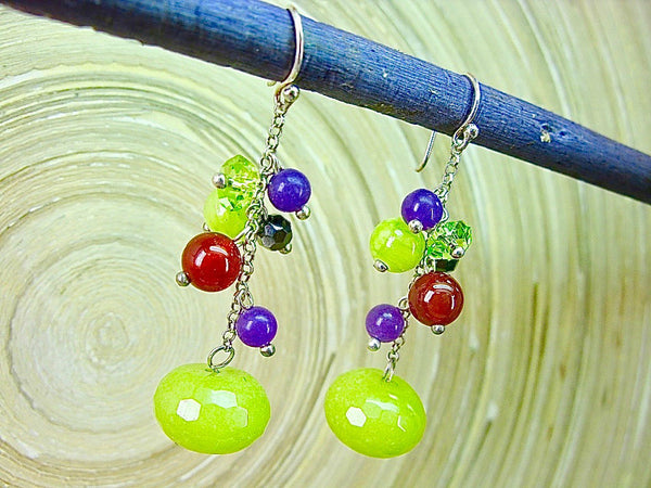 Agate Carnelian Peridot Amethyst 925 Sterling Silver Earrings