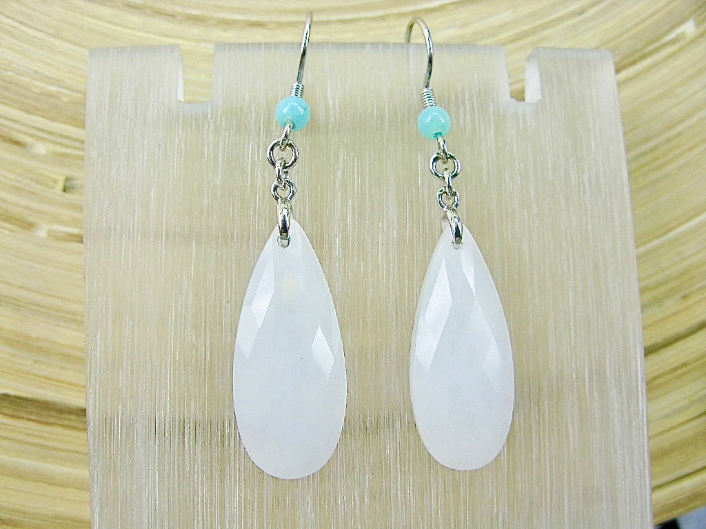 White Agate Dangle 925 Sterling Silver Earrings