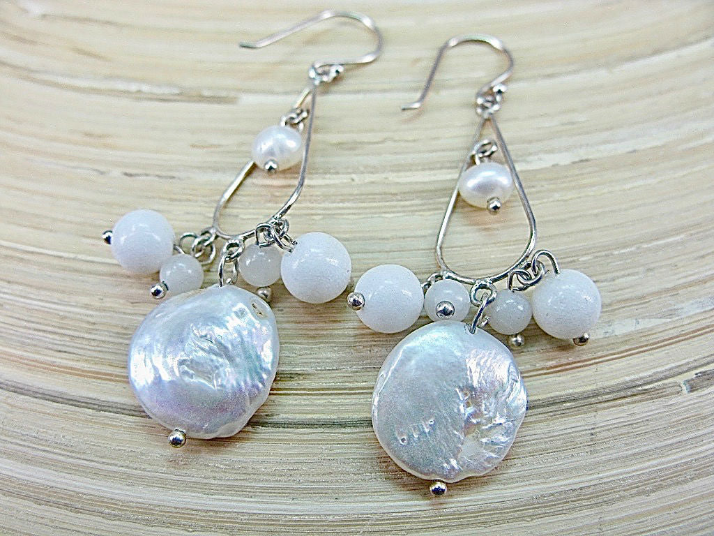 Coin Pearl White Agate Chandelier 925 Sterling Silver Earrings