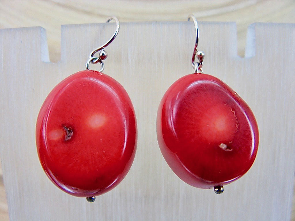 Large Red Coral Dangle 925 Sterling Silver Earrings