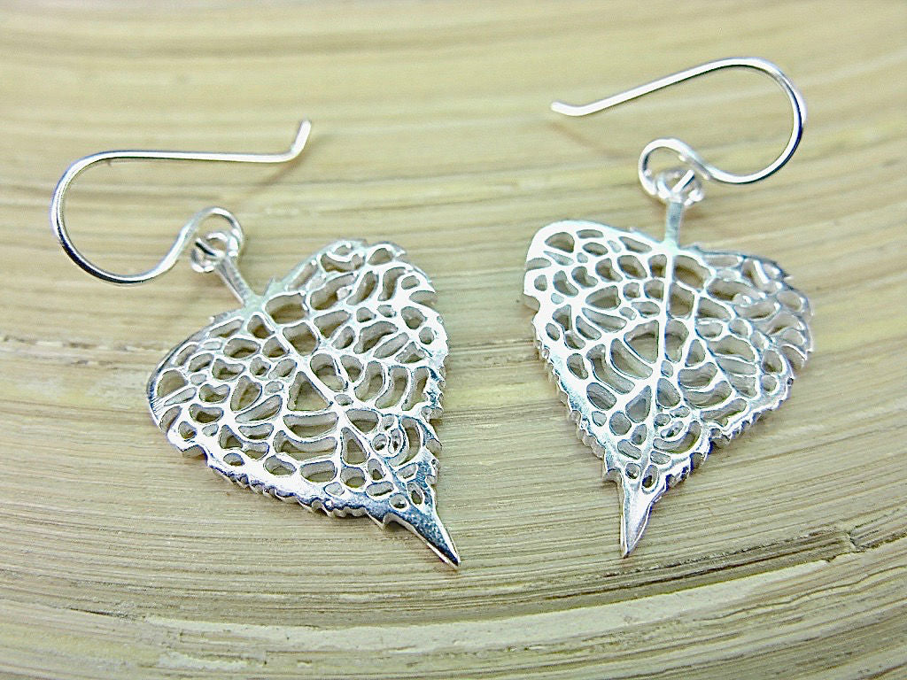 Leaf Filigree Lace 925 Sterling Silver Earrings