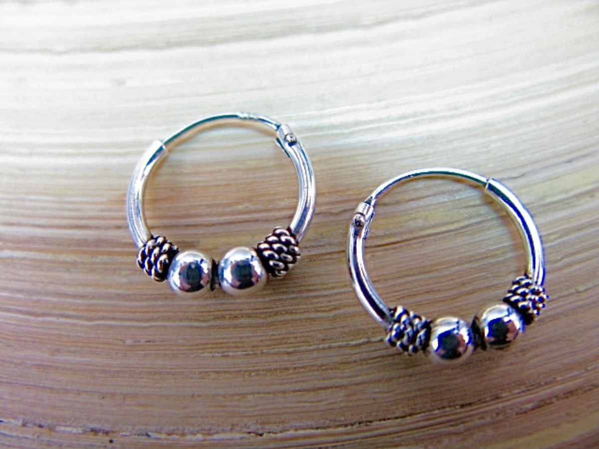 12mm Balinese Oxidized 925 Sterling Silver Hoop Earrings