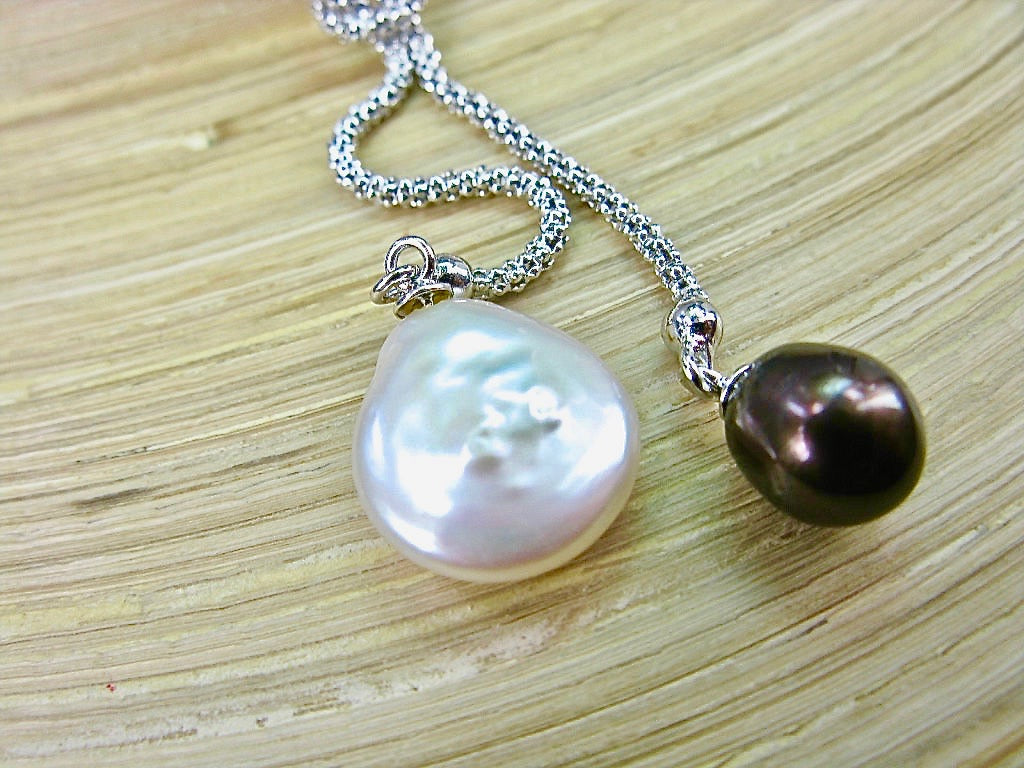 White & Chocolate Pearl Knot 925 Sterling Silver Necklace
