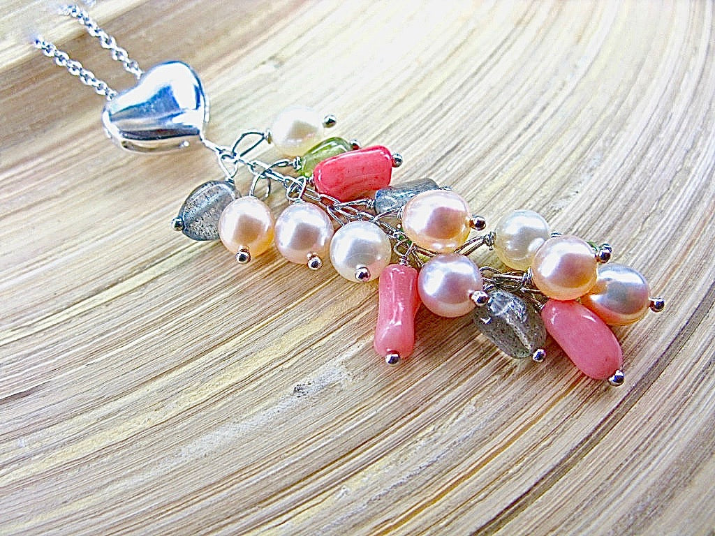 Pearl Multi Gemstone Heart 925 Sterling Silver Necklace