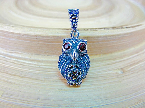 Owl Marcasite 925 Sterling Silver Pendant